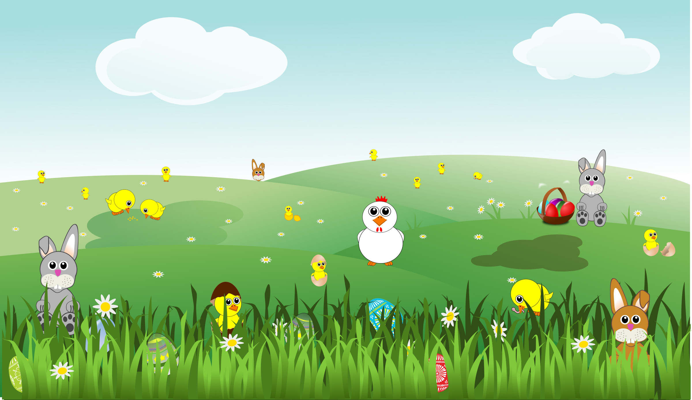 picture library library Landscape clipart. Easter with bunnies chicks.