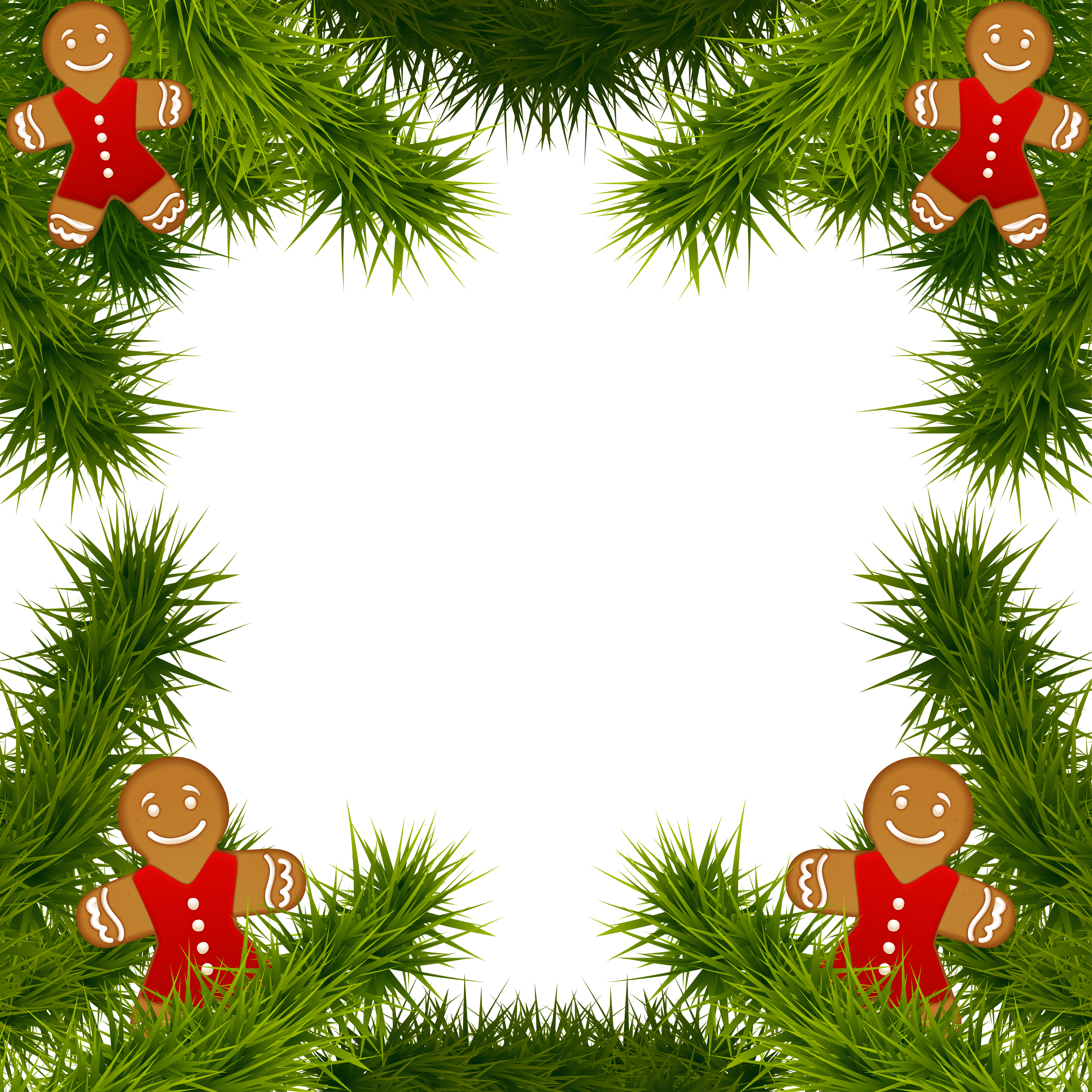 image black and white stock Christmas Pine Frame with Gingerbread Ornaments PNG Clipart Image