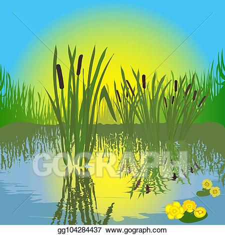 vector free Landscaping clipart pond grass. Vector art landscape with.