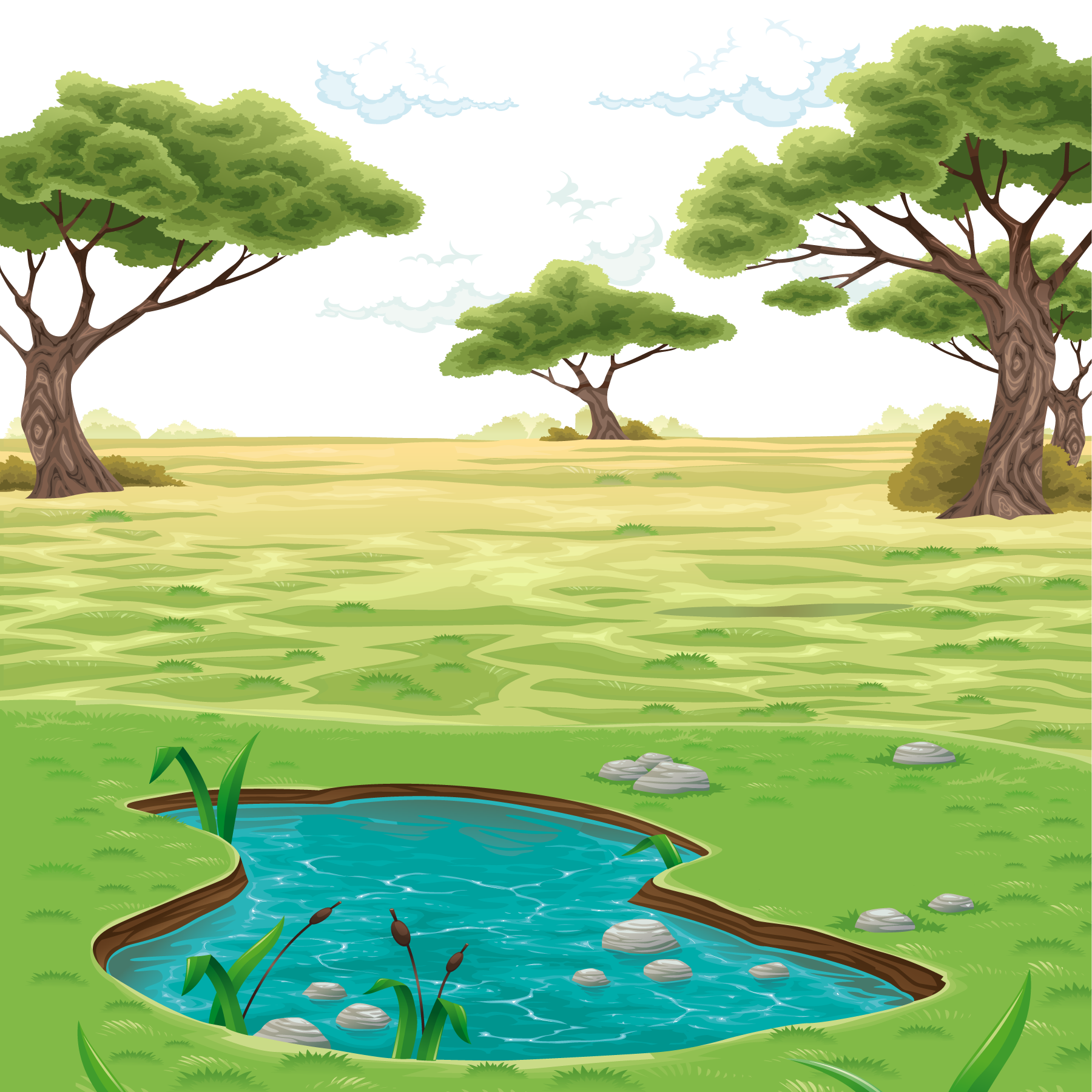 image library stock Landscape drawing clip art. Vector landscapes