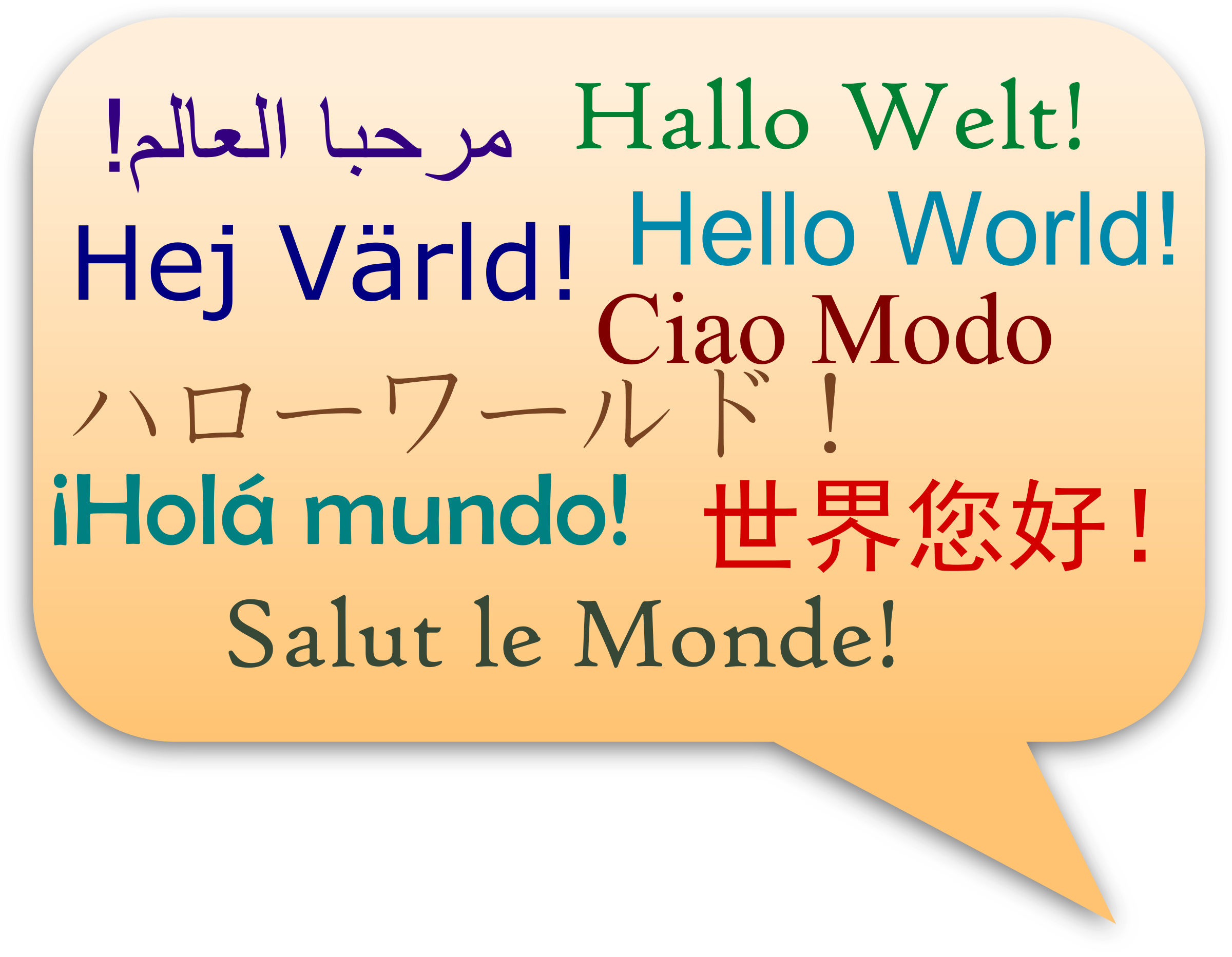 image freeuse stock Hello world in several. Language clipart