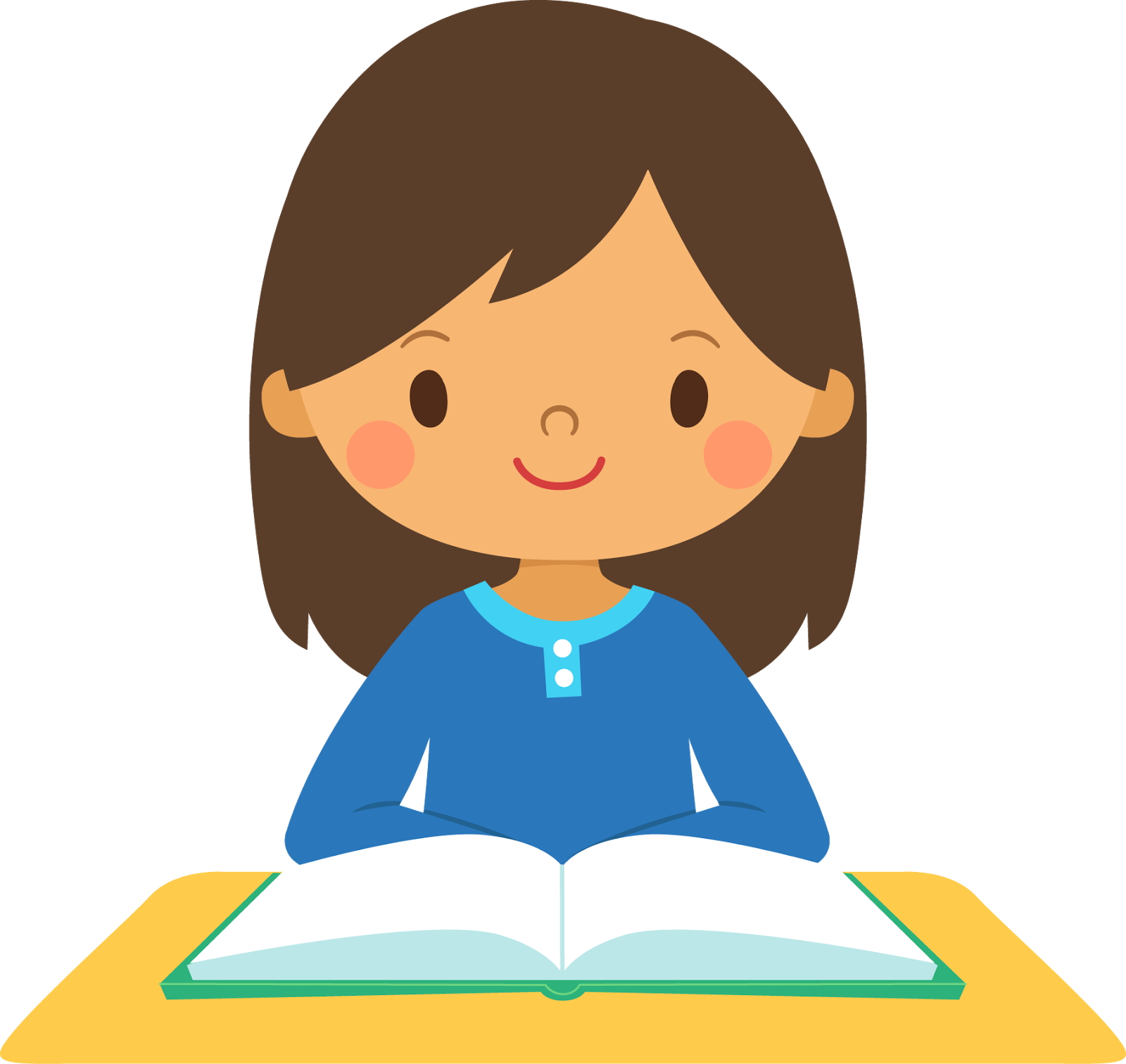 graphic black and white stock smiling girl at a desk with a book