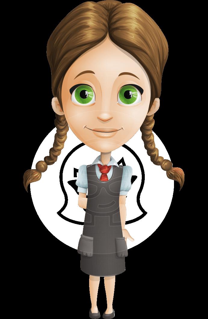 stock Vector smart schoolgirl character. Laptop clipart little student.