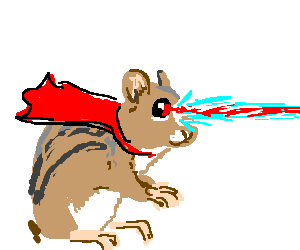 graphic library stock Adorable caped chipmunk with laser eyes drawing by TikiTiki