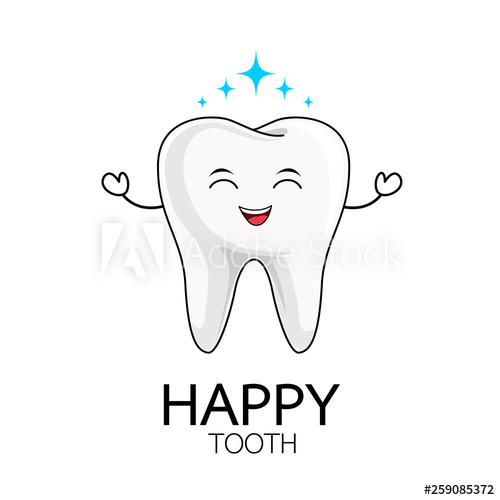 graphic black and white download Vector dental happy tooth. Cute cartoon character care