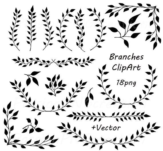 clip free stock Laurel clipart. Digital branches wreath .
