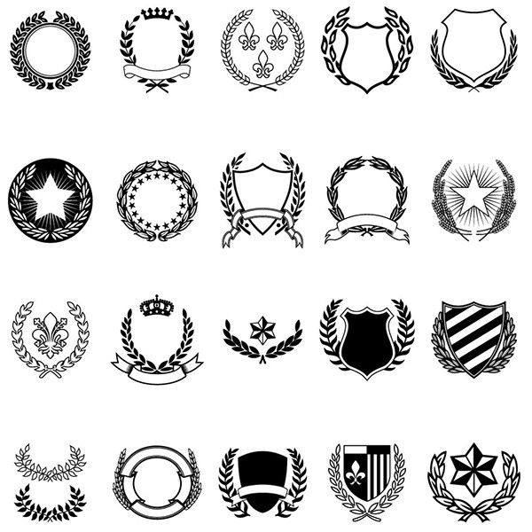 clip free stock Vector emblem crest. A variety collection of