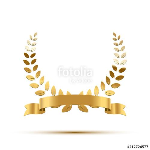 clip art library stock Laurels vector golden. Laurel wreath with ribbon