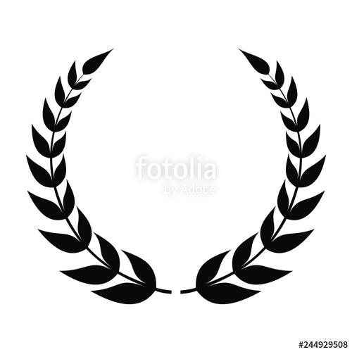 graphic freeuse stock Laurel wreath icon made. Vector emblem leaf