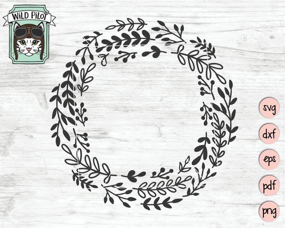 graphic transparent Laurels vector monogram wreath. Svg file laurel leaf