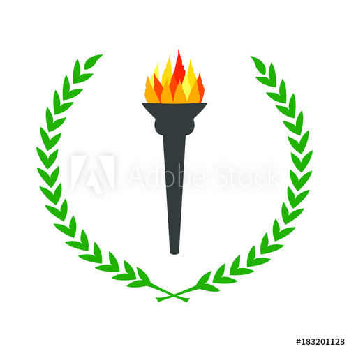 picture freeuse Flame burning torch with. Laurels vector olympic