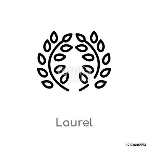 clip art royalty free library Laurel icon isolated black. Laurels vector outline
