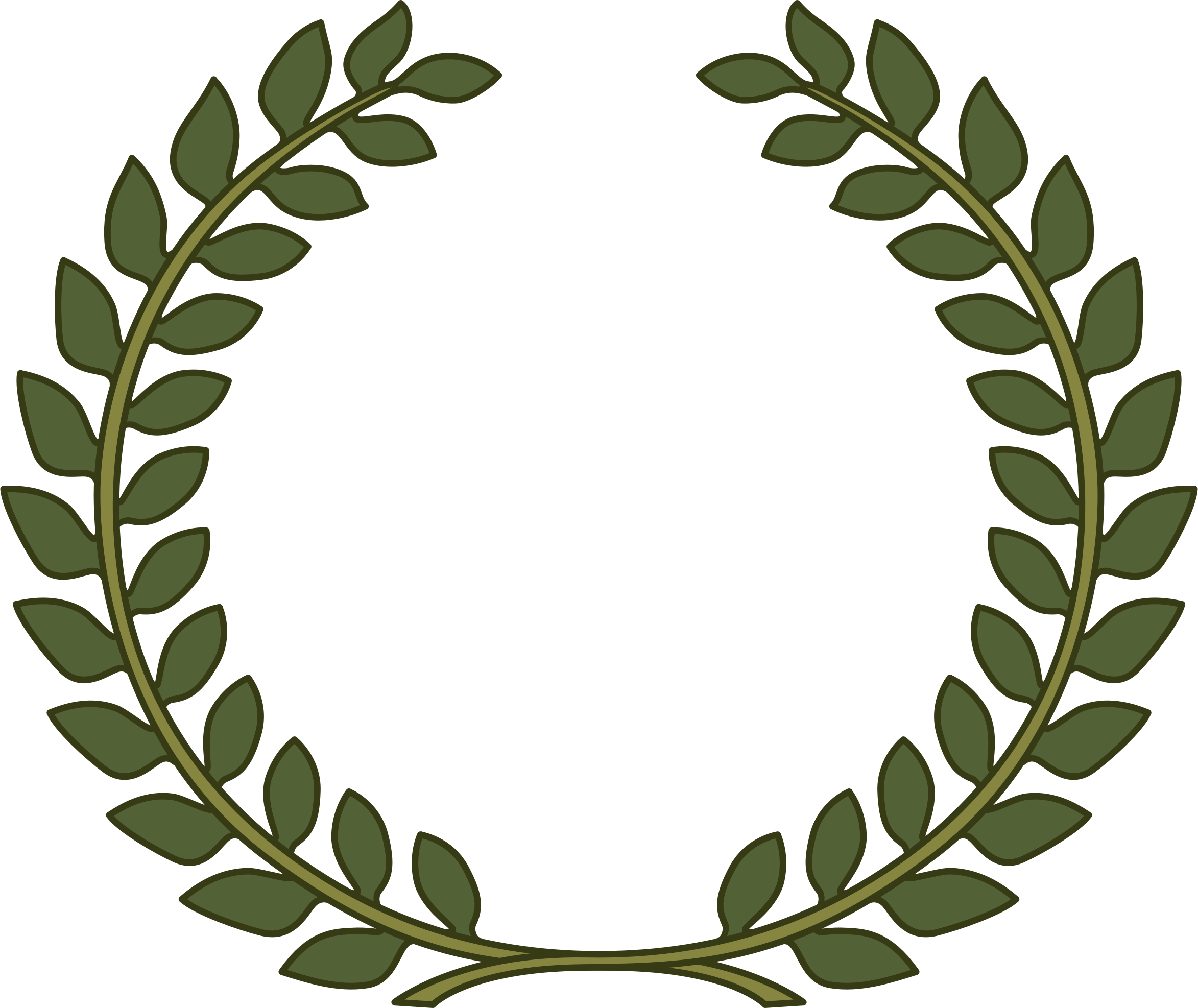 black and white stock Laurel wreath leaf icons. Laurels vector outline