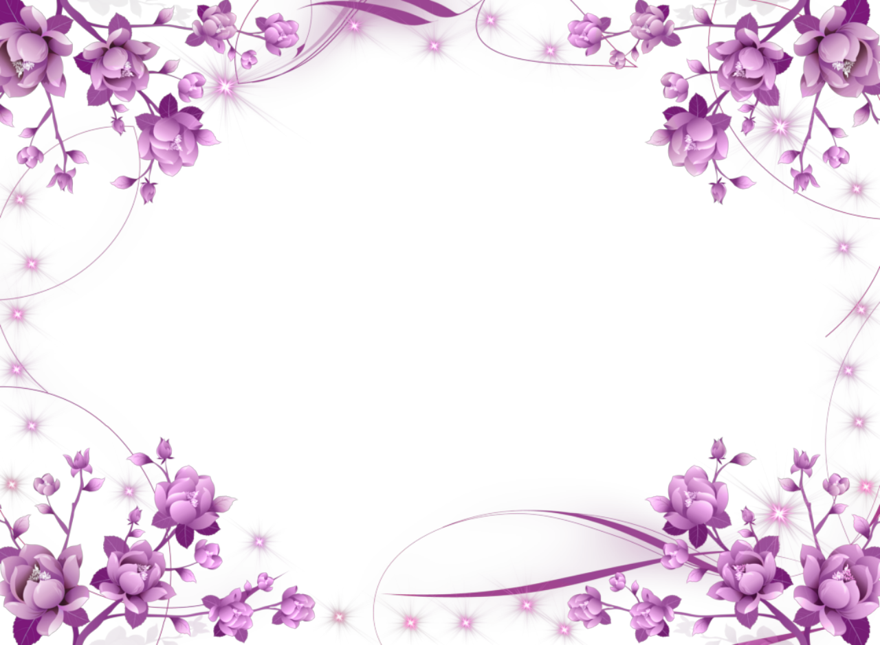 clip art library download Purple Flower Frame
