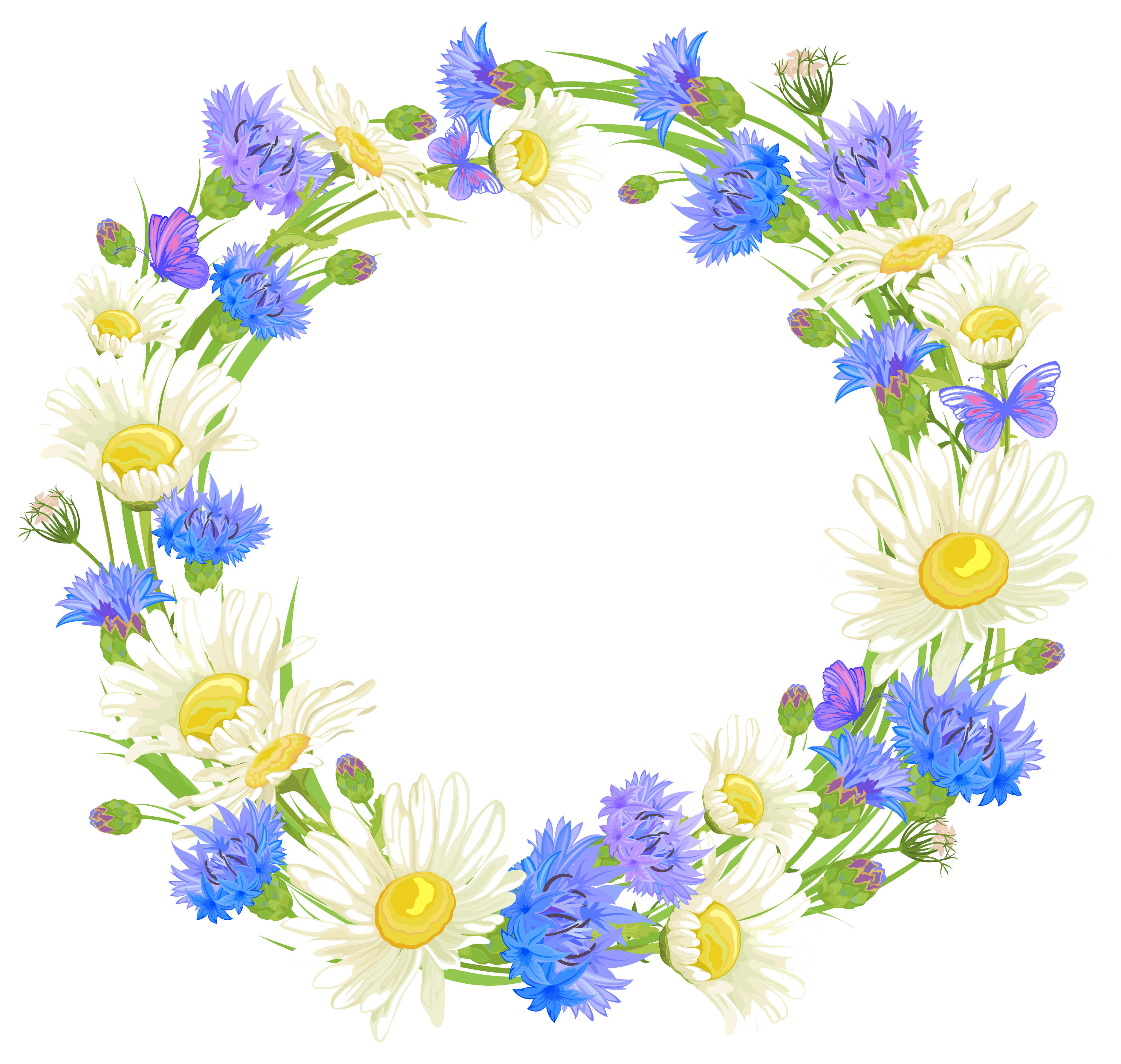 png royalty free Flower wreath clipart. Field flowers png gallery