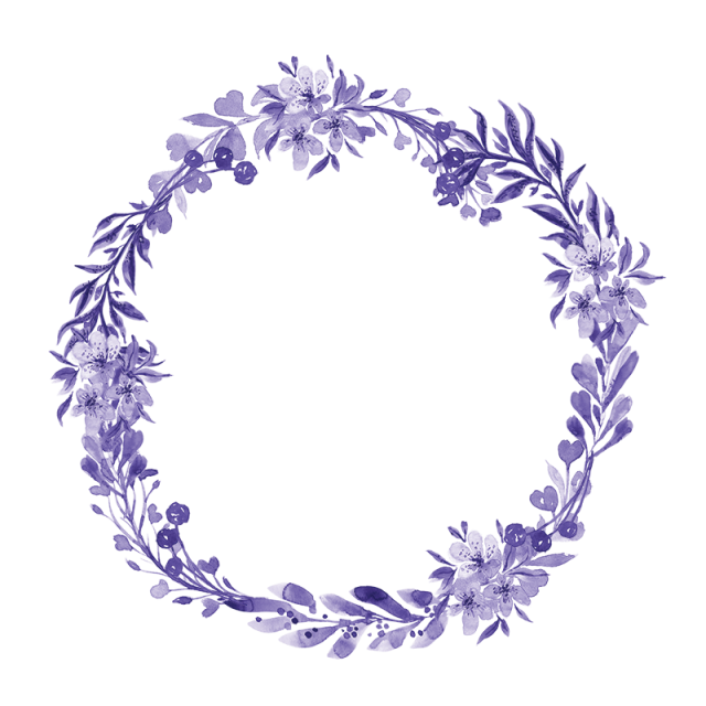 graphic free stock Violet png and psd. Watercolor wreath clipart