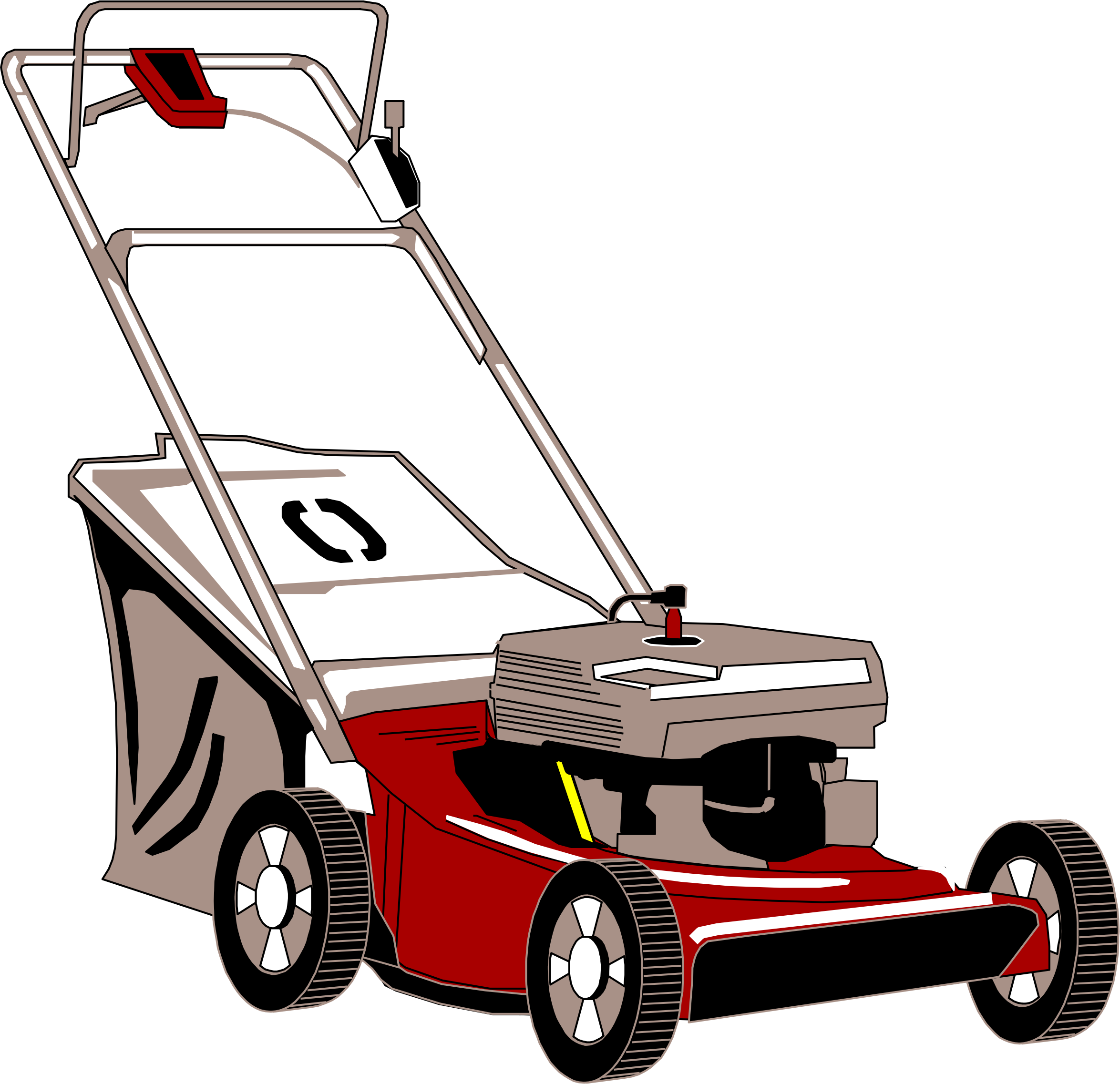 png library download Lawnmower with bagger big. Lawn mower clipart.