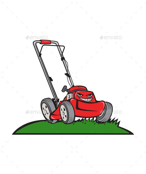 banner transparent Lawnmower front isolated cartoon. Lawn mower clipart grass cutter.