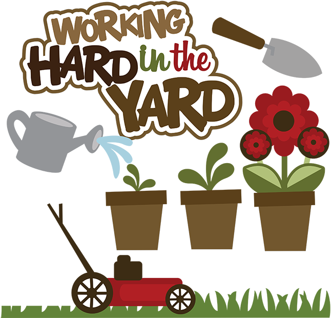 png freeuse download Working hard in the. Lawn mower clipart yard work.