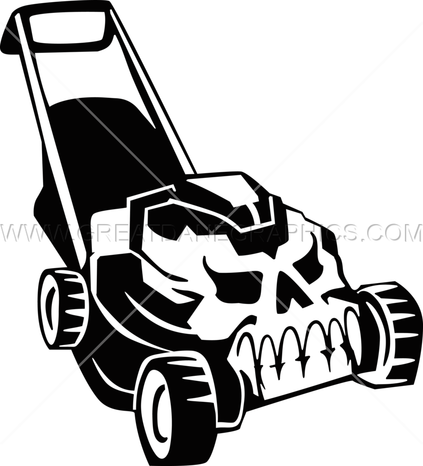 clip library stock Lawn mower graphics skull. Lawnmower clipart black and white.