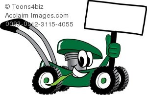 clip freeuse library Cartoon mower holding a. Lawnmower clipart green.