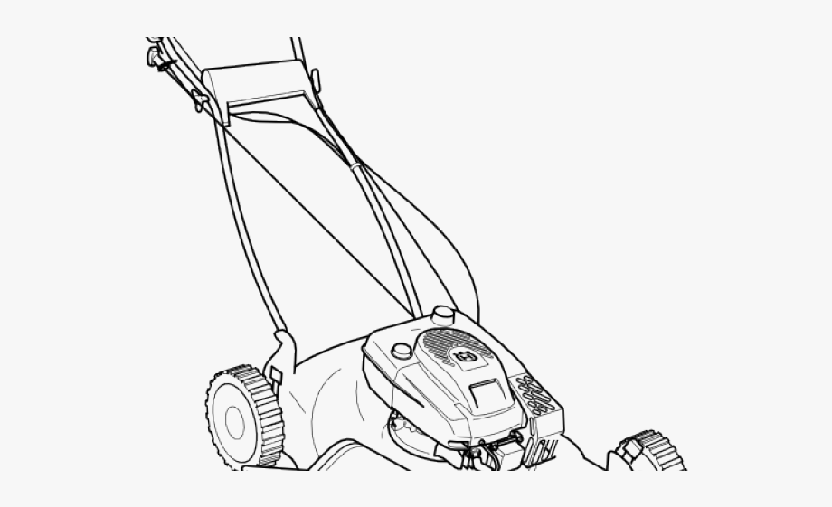 graphic transparent Monochrome mower colouring pictures. Lawnmower clipart lawn work