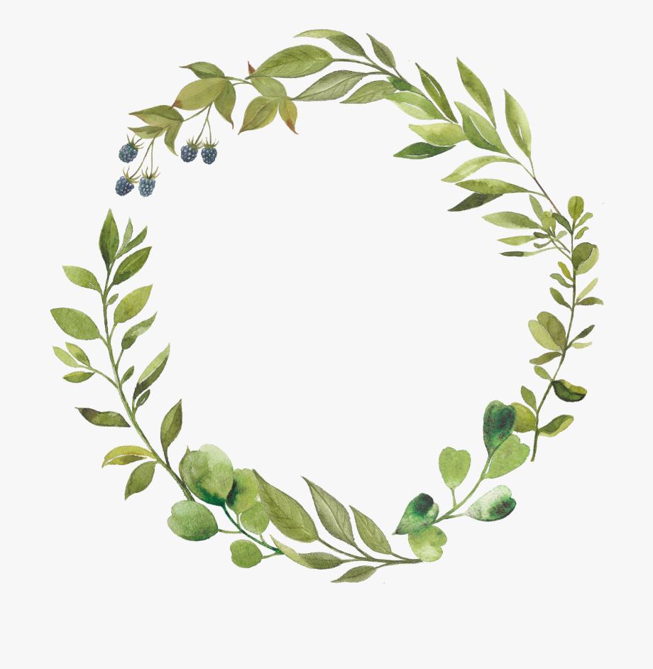 graphic black and white Green leaves greenery circle. Leaf wreath clipart