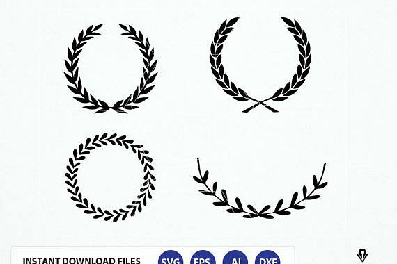 vector royalty free Svg dxf laurel wreaths. Leaf wreath clipart