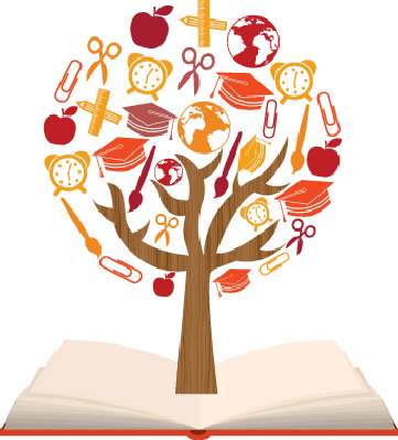 banner free library School symbols tree the. Learning clipart.