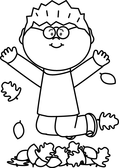 vector black and white stock Boy jumping in leaves. Web clipart black and white