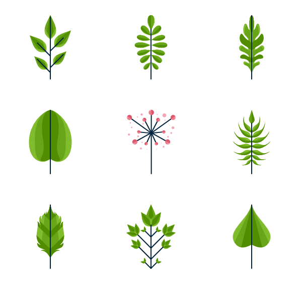 graphic library stock Leaves clipart leave free. Vector bushes flat design