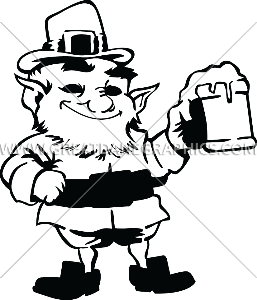 clip transparent library Cheers production ready artwork. Leprechaun clipart black and white
