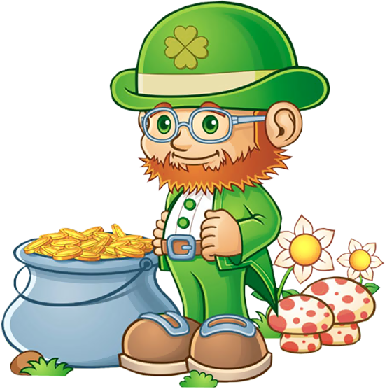 svg stock Leprechaun clipart old. With pot of gold.
