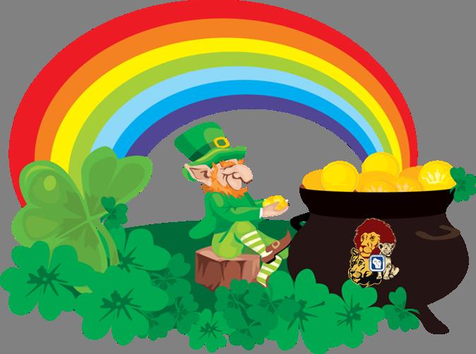 png free Lions pride and leprechauns. Leprechaun rainbow clipart.