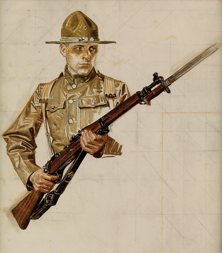 banner freeuse Joseph c study for. Leyendecker drawing soldier
