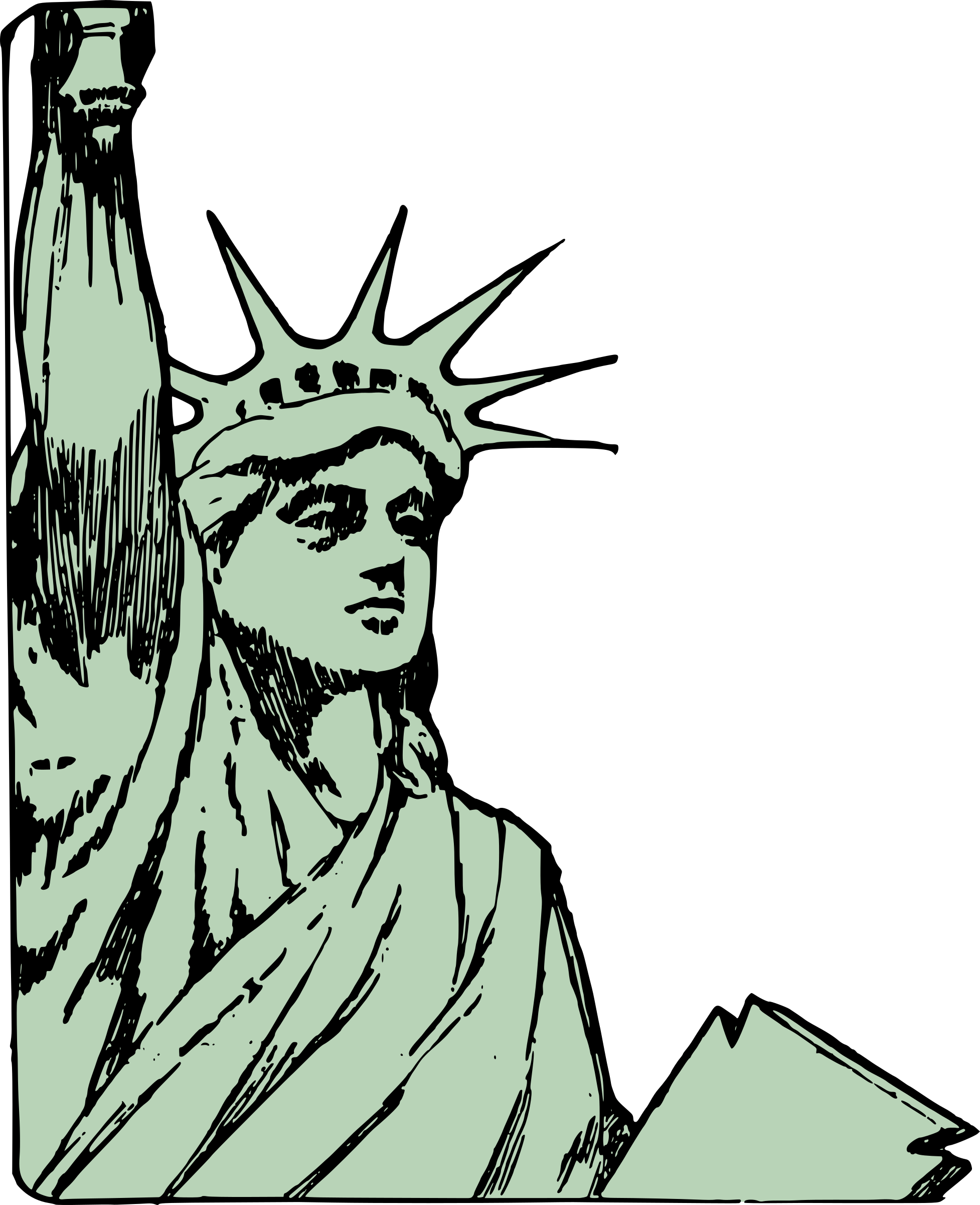 graphic royalty free stock Liberty clipart. Statue of face big.