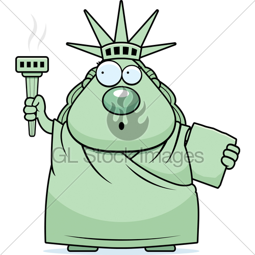 graphic royalty free library Surprised cartoon statue of. Liberty clipart shocked.