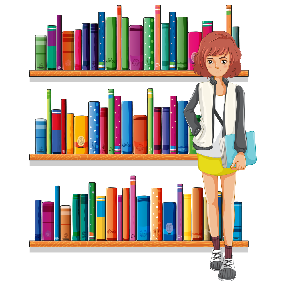 jpg freeuse library Library clip art cartoon. Librarian clipart book case.