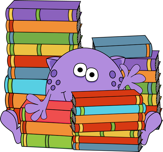 graphic library library Librarian clipart school personnel. Monster surrounded by books.