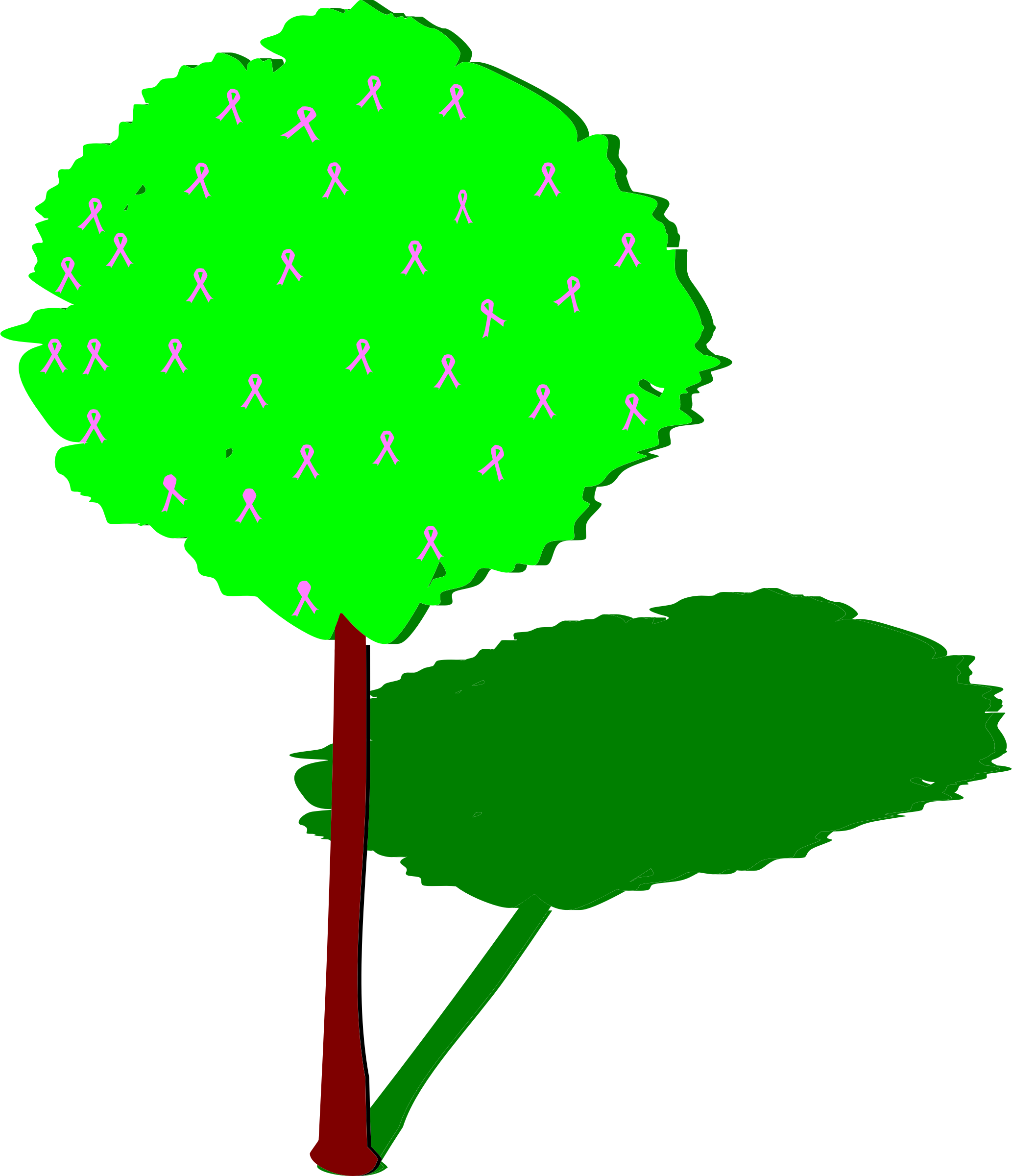 svg transparent library Life clipart cartoon tree. Of with pink ribbons.