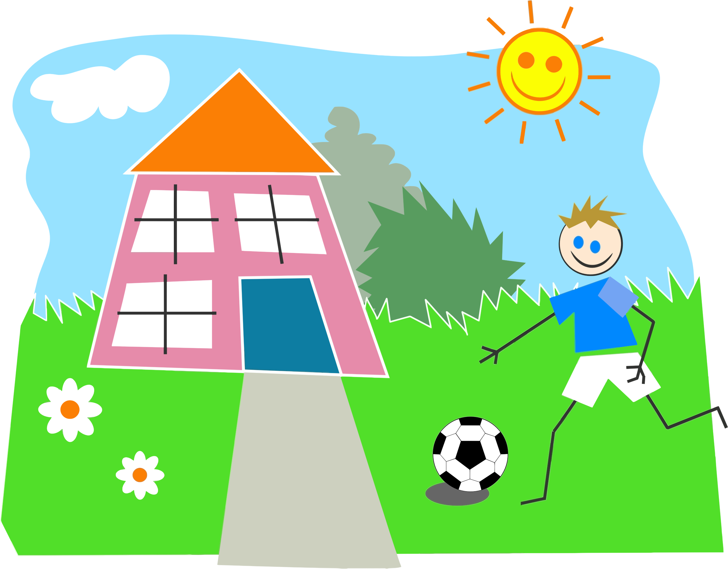 vector free download Boy playing soccer big. Lifestyle clipart.