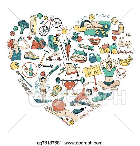 png free Lifestyle clipart healthy heart. Vector illustration background .