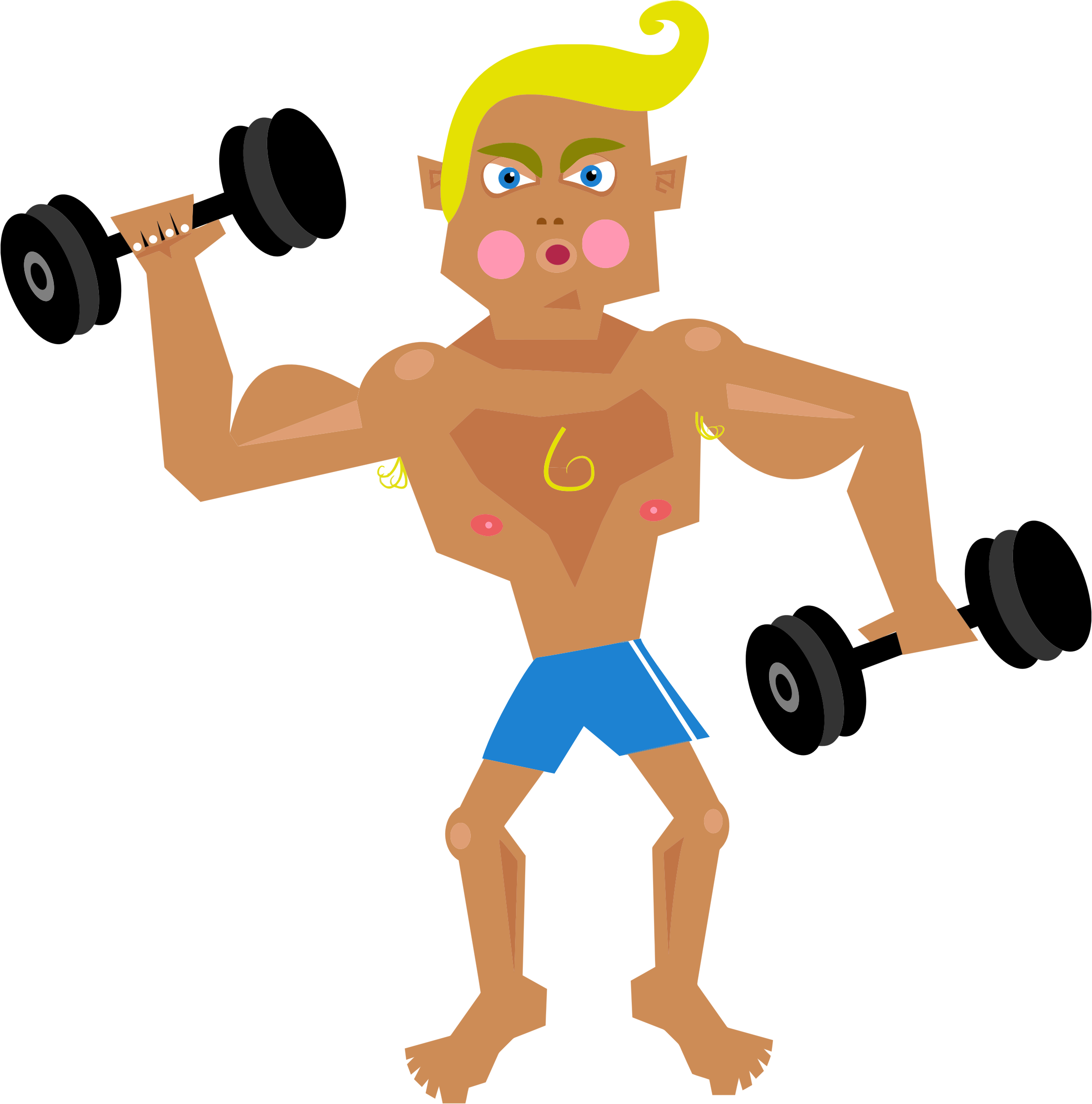 vector stock Cartoon arm lifting weights. Muscles clipart fit man.