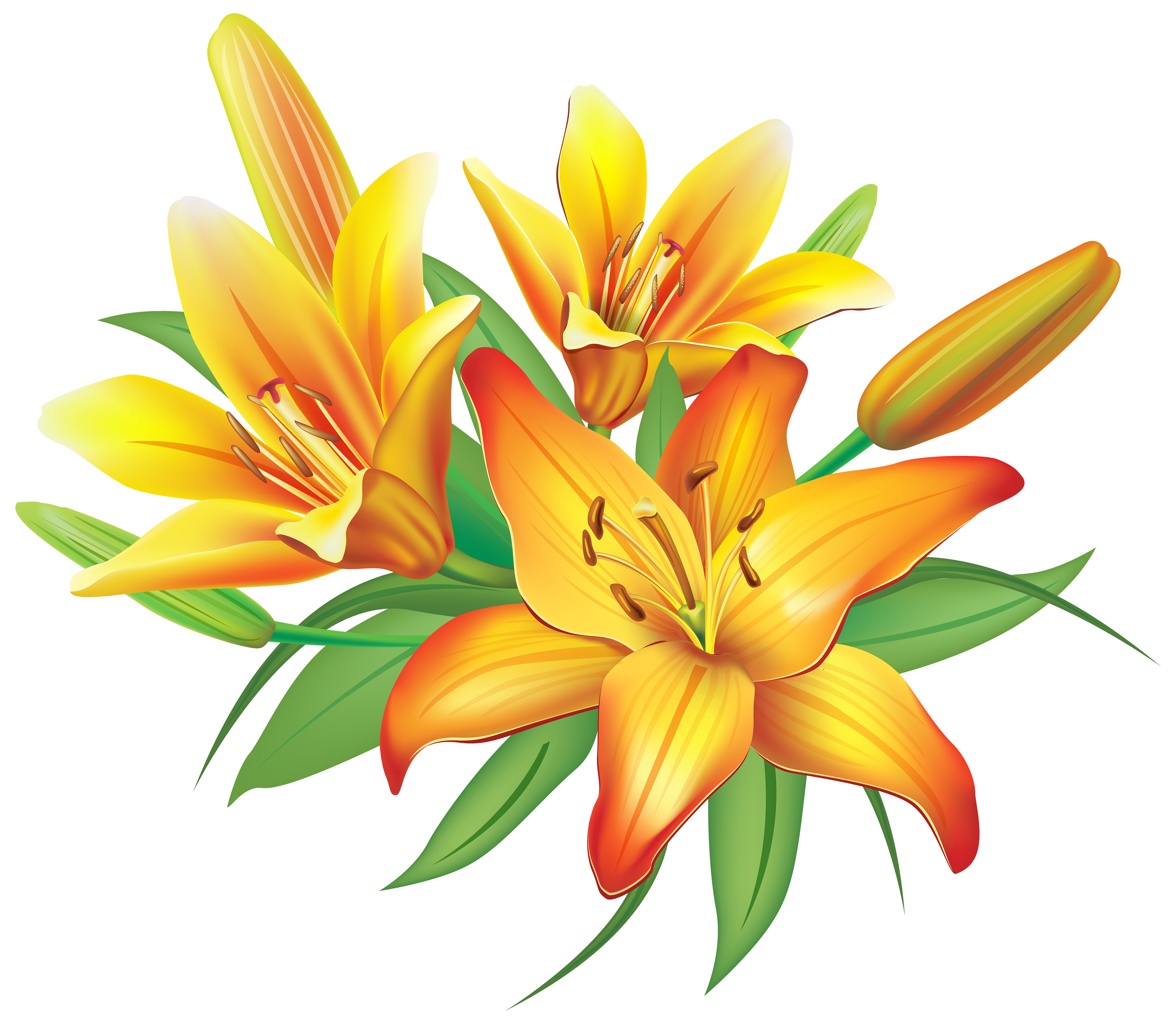 jpg royalty free library Lilies clipart. Yellow flowers decoration png.