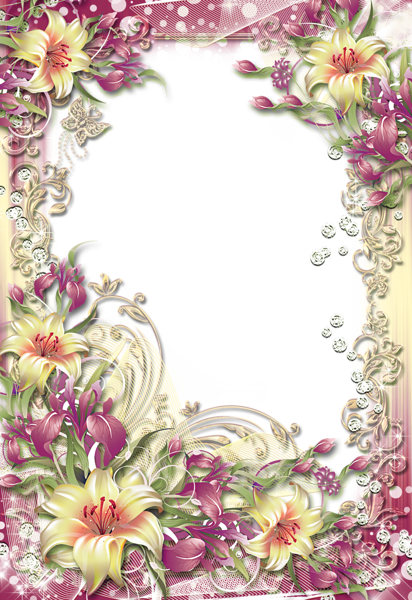 image free stock Floral pinterest yellow flowers. Lilies clipart frame.