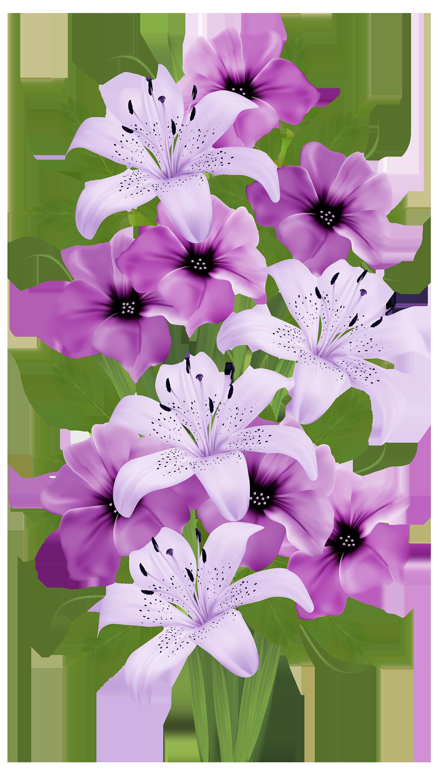 banner stock Purple Lilies Bouquet