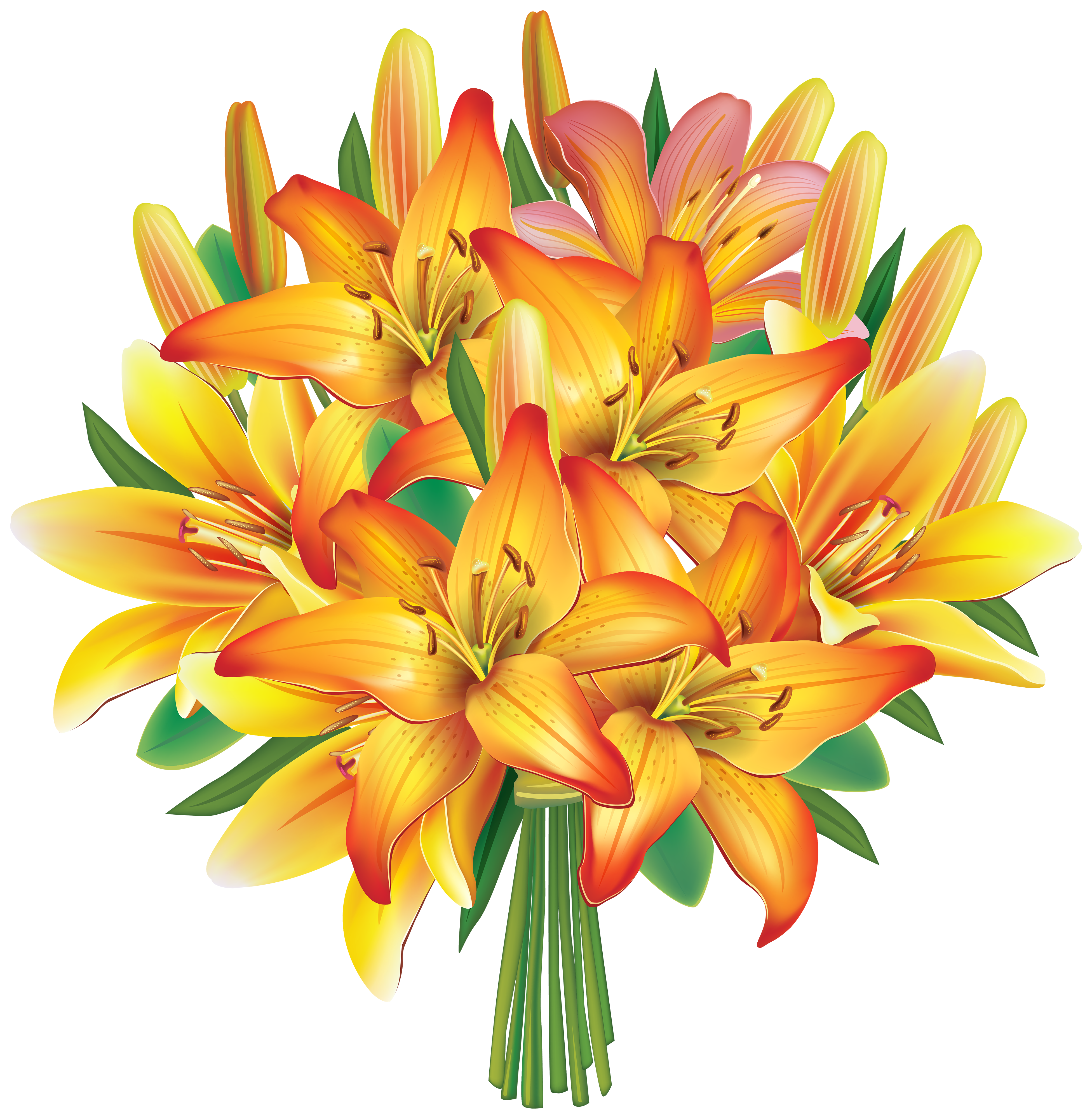 banner transparent library Yellow lilies flowers png. Lily clipart flower bouquet.