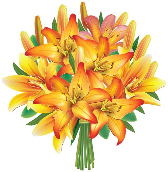 image stock Yellow Lilies Flowers Bouquet PNG Clipart Image