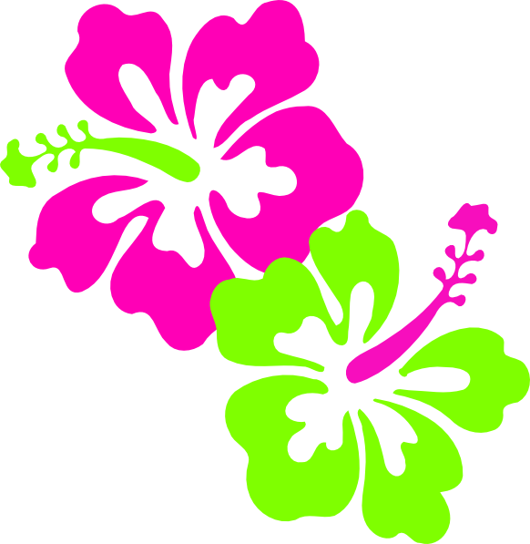 clip black and white download Hibiscus Pink Lime Green Clip Art at Clker