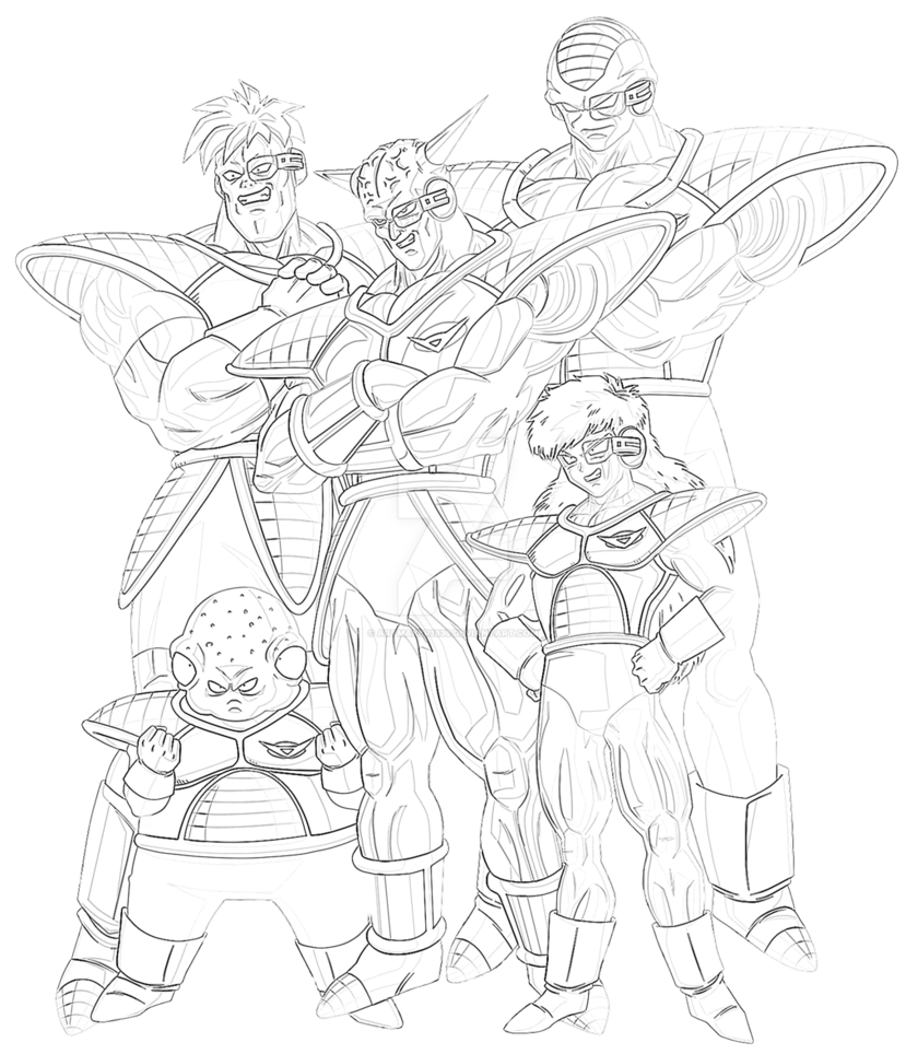black and white library Force s ginyu art. Linear drawing